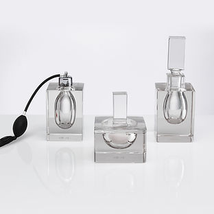 Three Large 20th Century Art Deco Perfume Bottles by Moser, Czechoslovakia
