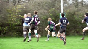 David Cooke scores Minety's 4th try.