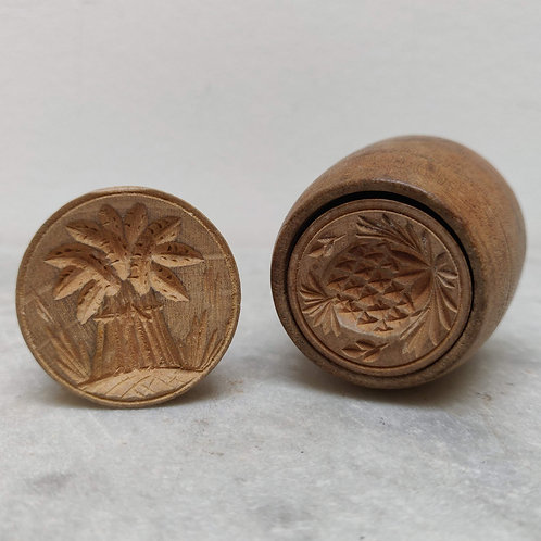 Two Wooden Butter Stamps