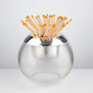 Very Large Mid-20th Century Glass and Silver Match Striker by Edward Viner, 1954