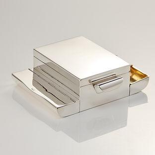 20th Century Antique Sterling Silver Half Corona Cigar Box