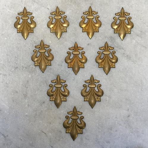 Set Of Ten Brass 'Fleur De Lis' Applique Mounts