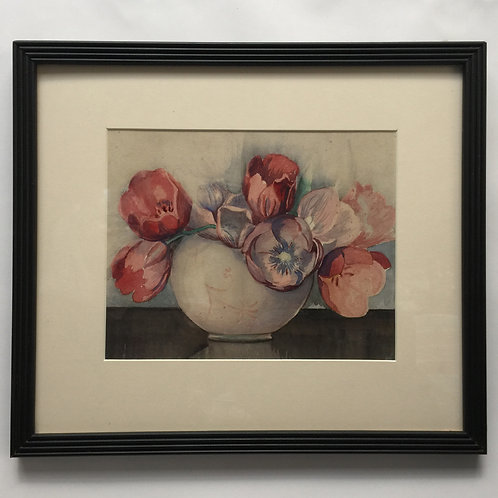 1930's Watercolour Of Tulips