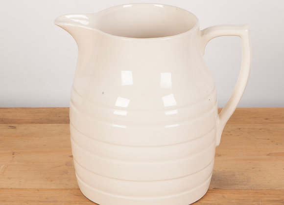 Very Large Early 20th Century White Banded Dairy Jug