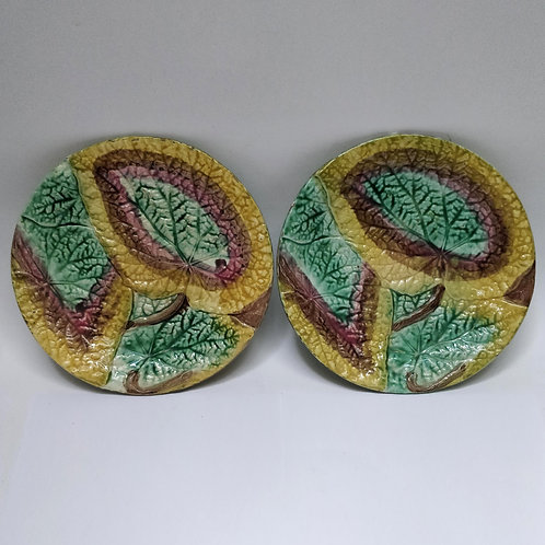 A Pair Of C19th French Begonia Lead Majolica Plates