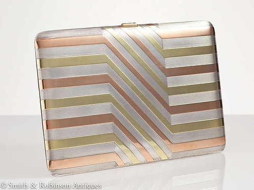 Beautifully Engineered French Art Deco Silver and Gold Case, circa 1930