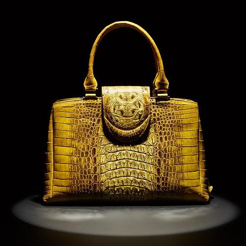 A Large Late 20th Century Lime Green Crocodile Handbag