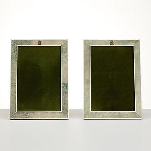 Pair 20th century Art Deco, Shagreen photo frames