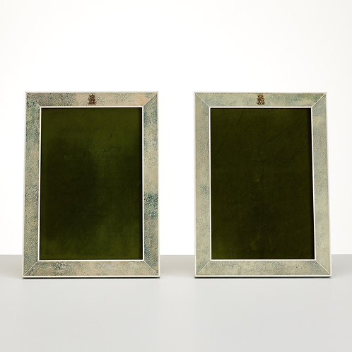 Pair 20th century Art Deco, Shagreen photo frames