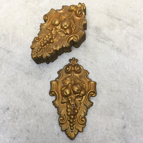 Six Pairs of French Brass Applique Mounts