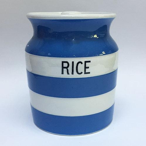 T G Green Cornishware rice jar