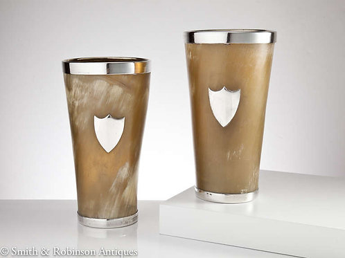 Very Large and Impressive Pair of Horn and Silver Beakers, English, circa 1890