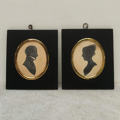 Pair Of Silhouettes, July 1st 1860 Signed R.E.M
