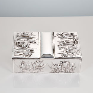 Antique Early 20th Century Japanese Silver Box with Overlaid Iris Decoration Muji period circa 1910
