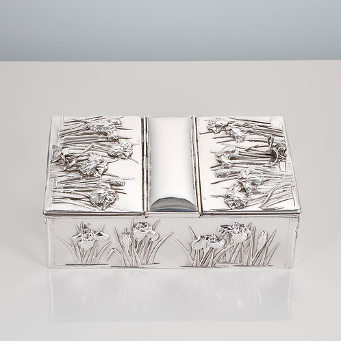 Early 20th Century Japanese Silver Box with Overlaid Iris Decoration Muji
