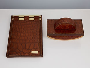 Two 20th Century Art Deco Hermes Paris Crocodile Desk Set Pieces circa 1930-35