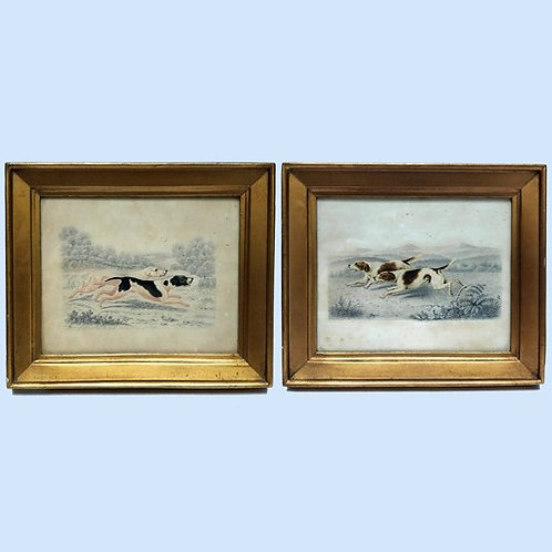 Charming Pair Of Watercolours Of Running Hounds