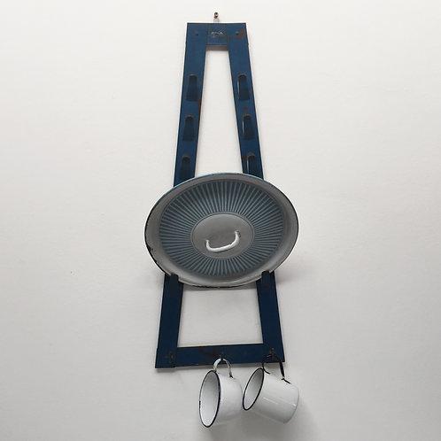 Blue Painted Saucepan Lid Rack