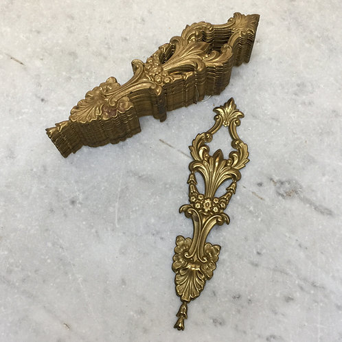 Two Sets Of Ten French Brass Applique Mounts