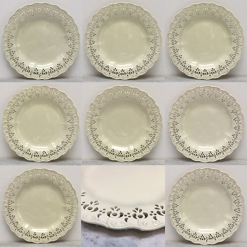 Eight Late 18th Century Pierced Creamware Plates