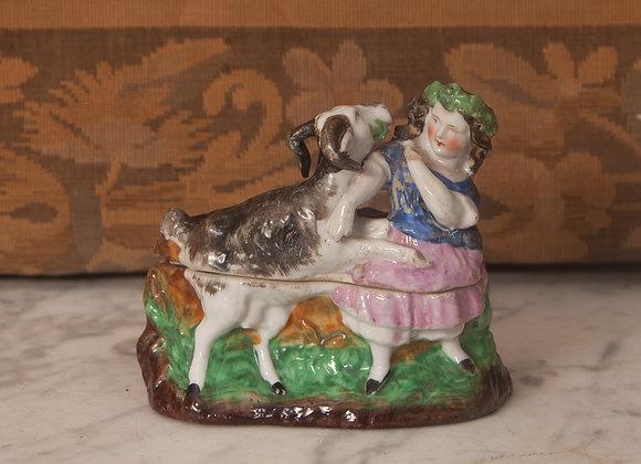 A Victorian Pottery Fairing Trinket Box