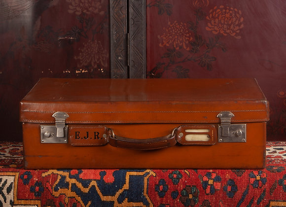Large Late Victorian Leather Suitcase