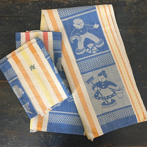 Set of three 1960's kitchen towels