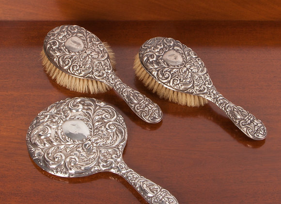 Silver Dressing Table Brush and Mirror Set