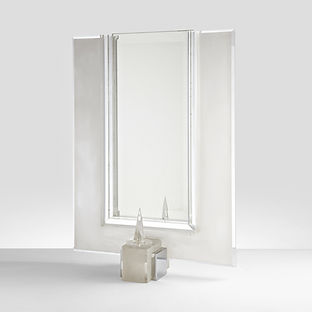 Modernist Lucite and Chrome Table Mirror, circa 1970