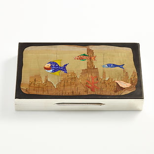 Mid-20th Century Silver Box with a Aquatic Mosaic Scene on the Lid, circa 1960