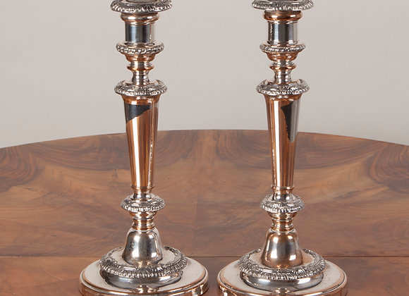 A Pair of  Early Victorian Old Sheffield Plated Candlesticks