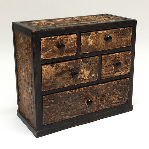 Tiny Set Of Cork Covered Drawers