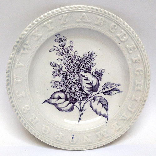 C19th Childrens Teaching Plate With Lilac Sprig