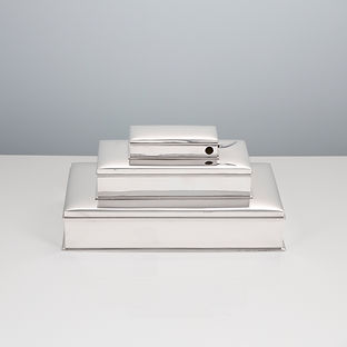 A 20th century, Sterling Silver Three Tier Cigar and Cigarette Box with Vesta and Cigar Cutter by Tiffany