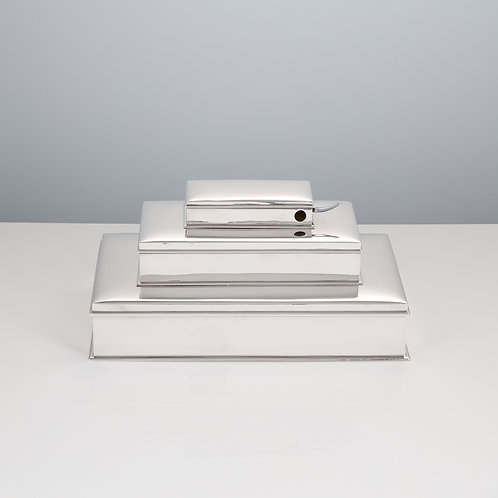 Sterling Silver Three Tier Cigar and Cigarette Box with Vesta and Cigar Cutter