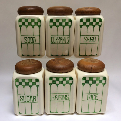 Six Green Checked Kitchen Jars With Wooden Lids