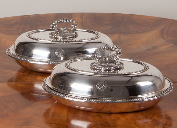 A Pair of Late Victorian Entree Dishes in Silver Plate