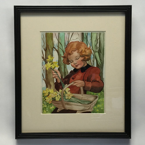 'Picking Daffodils' 1940's Watercolour