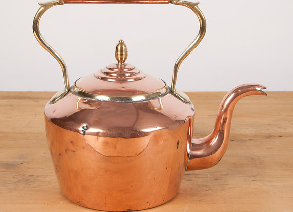 Large Copper Kettle with Acorn Finial