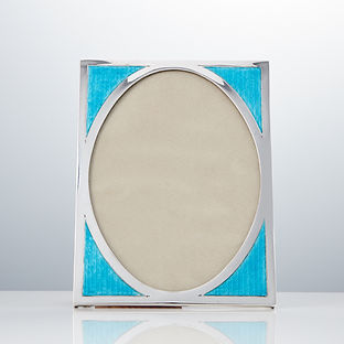20th Century Art Deco Aqua Marine Sterling Silver & Guilloche Enamel Photo Frame