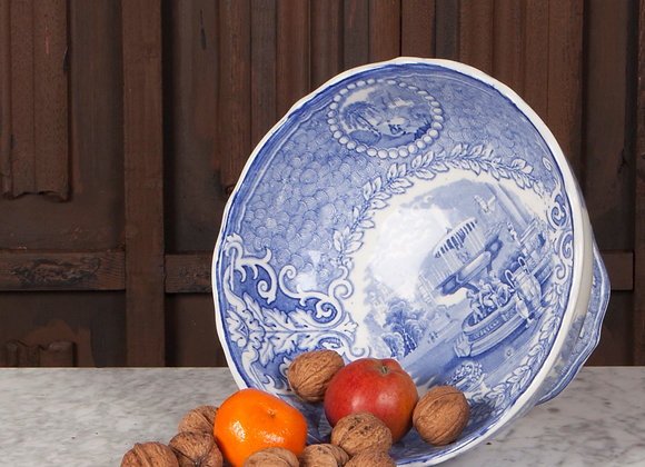 Victorian Blue and White Footed Bowl