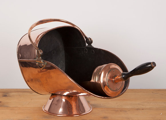 Copper Coal Scuttle with Scoop