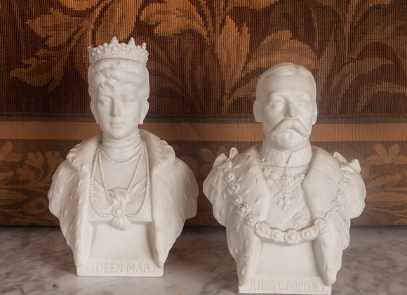 An Edwardian Parian Bust of King George V and Queen Mary