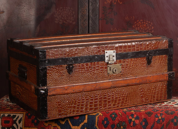 Late Victorian Steamer Trunk with Mock Crocodile Casing