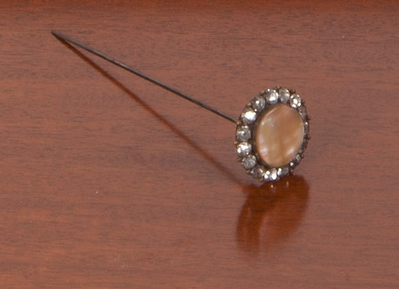 Late Victorian Ladies Paste and Mother of Pearl Hat Pin/Decoration