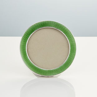 20th Century Art Deco Sterling Silver and Guilloche Enamel Frame