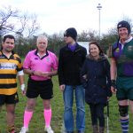 Ryan, Debra and Wallace joined by the referee and Combe Down captain
