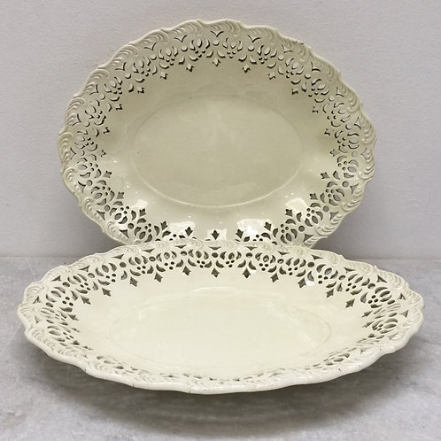 A Pair Of Late C18th Pierced Creamware Dishes