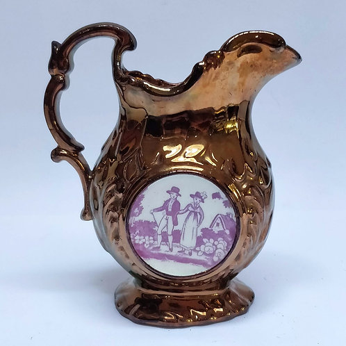 Copper Lustre Jug With Pink Clock Face