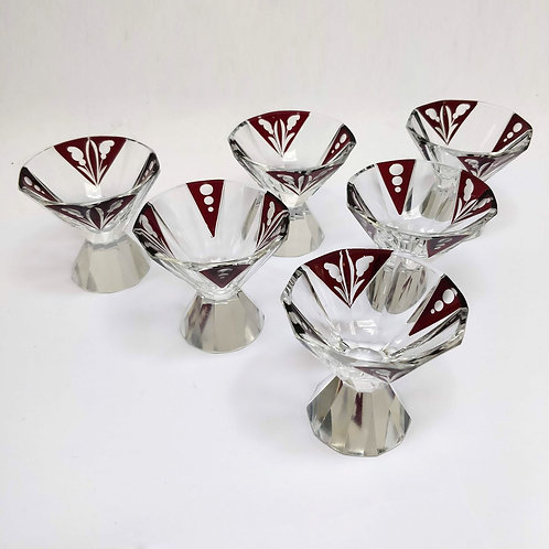 Set Of 6 Art Deco Liqueur Glasses